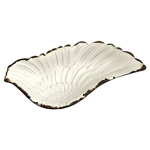 "NIKKY HOME Shabby Chic Pewter Angel Wing Jewelry Dish Tray Holder Display 4"" L"