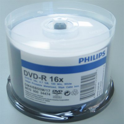 PHILIPS DVD-R 16x 4.7gb white inkjet printable spindle 100pk