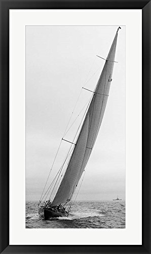 Sailboat Racing, 1934 (Detail) Framed Art Print Wall Picture, Black Frame, 21 x 35 inches