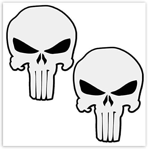 Skinoeu 2 Stück Vinyl Aufkleber Autoaufkleber Punisher Skull Schädel Totenkopf Weiß Knochen Horror Stickers Auto Moto Motorrad Fahrrad Helm Fenster Tuning B 28 Auto