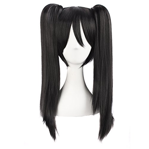 MapofBeauty 20 Inch/50cm Double Tail Straight Hair Cosplay Wigs(Black)