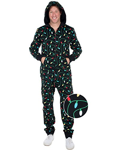 Tipsy Elves Black String of Christmas Lights Jumpsuit - Ugly Christmas Sweater Party Adult Onesie: X-Small