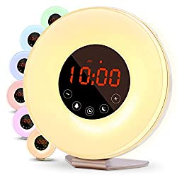 Betus 2018 Upgraded Sunrise Simulation Alarm Clock - Digital Display, Snooze Function, FM Radio, 6 Color Choices, 6 Natural Sounds & Touch Control