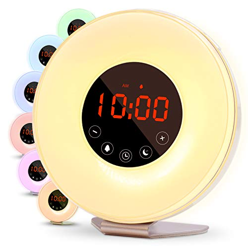 Betus Wake Up Light Alarm Clock - 2019 Upgraded Digital Display, Snooze Function,FM Radio, 6 Color Choices, 6 Natural Sounds & Touch Control