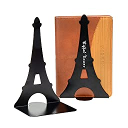 YOURNELO 1 Pair Eiffel Tower Nonskid Bookends (Black)
