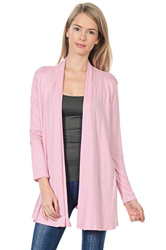 Pastel by Vivienne Women's Long Sleeve Jersey Cardigan Large Dusty Pink ()