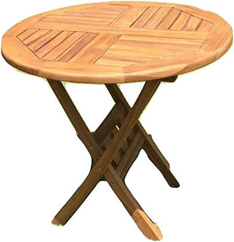 Mesa de jardín de madera de teca redonda, diámetro de 80 cm.: Amazon.es: Jardín