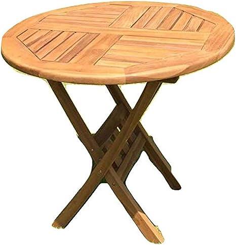 Tavolo Da Giardino In Legno Teak Rotondo O 80 Cm Amazon It Giardino E Giardinaggio