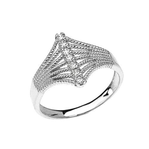 Bague Femme 14 Ct Or Blanc Moderne 7 Pierre Diamant Conception De Corde