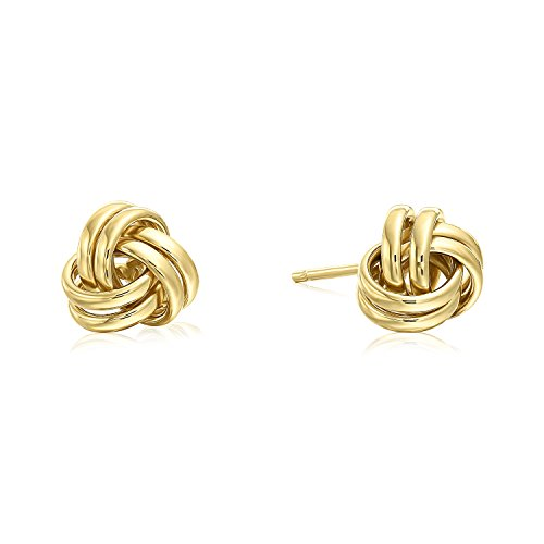 14k Yellow Gold Polished Love Knot Stud Earrings with Secure Screw-backs - 7mm by Tilo Jewelry -