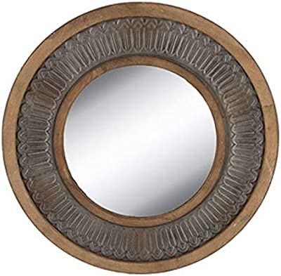 Round Galvanized Ridged Metal Wall Mirror Farmhouse Industrial Mirror
