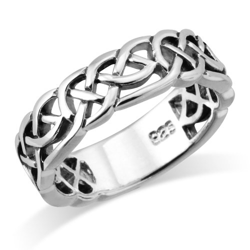 (Sterling Silver Woven Celtic Knot Trinity Band Ring - Size 7)