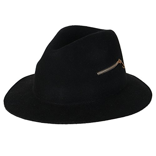 Ililily Black Small Brim Floppy Horizontal Zipper Trim Fedora Panama Bowler Hat , Black