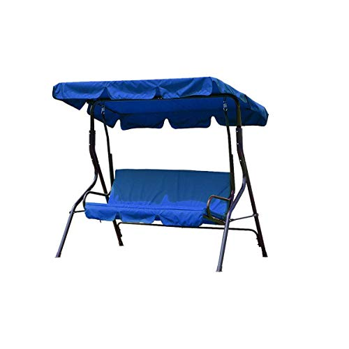 dDanke Blue Patio Swing Canopy Cover Set - Swing Replacement Top Cover + Swing Cushion Cover for 3 Seat Swing Dustproof Protection, Cover - Replacement Backrest