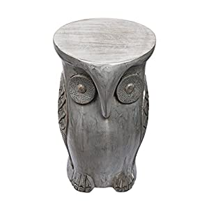 storeindya Decorative Footstool Small/Outdoor Footstool/Wooden Footstool/Wooden Round Ottoman Foot Stool Home Furniture Décor (Lucky Owl Collection)
