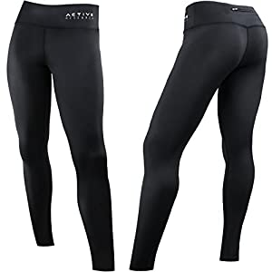 Active Research Women's Compression Pants - Athletic Tights w/ Hidden Pocket - Large