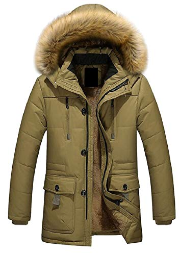 Warm Puffer Hooded Khaki Long Faux Coat Down Jacket Mens security Fur Winter Sleeve t8nAX7qwg