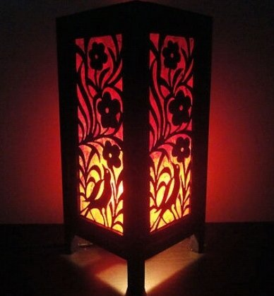 Thai Vintage Handmade ASIAN Oriental Japanese Bamboo Trees Bedside Table Lamp Wood Shades Lights (Design View Bamboo Shades)