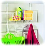 White Over the Door Storage Basket with Hooks Room Organizational