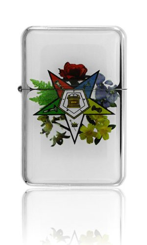 Mason Masonic Eastern Star Floral Wind Proof Oil Lighter Master