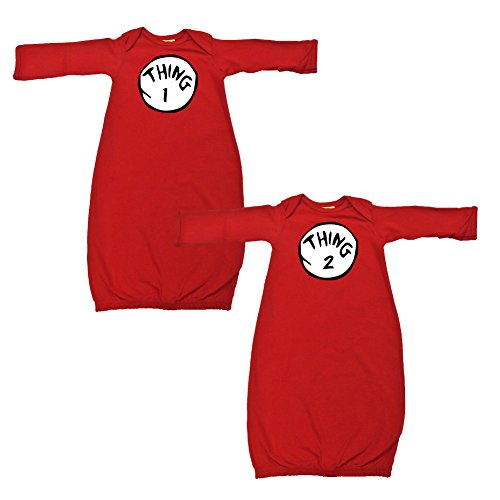 We Match! Baby Adorable Thing 1 & 2 Twins Layette Gown Set Super Soft Baby Outfits (Red) (Thing 1 Thing 2 Outfits)