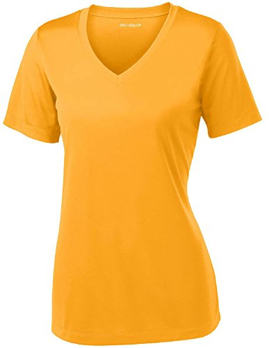 Joe's USA Women's Short Sleeve Moisture Wicking Athletic Shirt-Gold-XS by Joe's USA (Image #1)