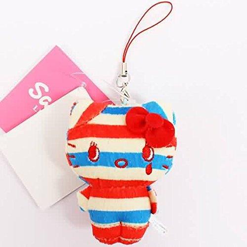 - Nakajima Sanrio Hello Kitty Stripe Series Plush Doll Cell Phone Strap (Tricolor)