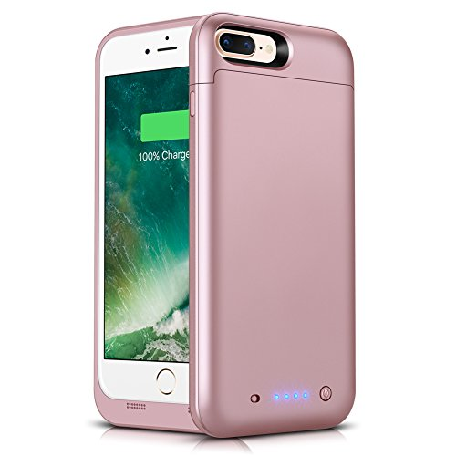iPhone 8 Plus/7 Plus Battery Case, AexPower 7000mAh Rechargeable External Battery Portable Power Charger for iPhone 7 Plus 8 Plus (5.5inch) 4 LED Indication Ultra Slim Charging Case-Rose Gold