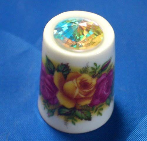Porcelain China Collectable Thimble Country Roses with Swarovski Crystal Birchcroft China