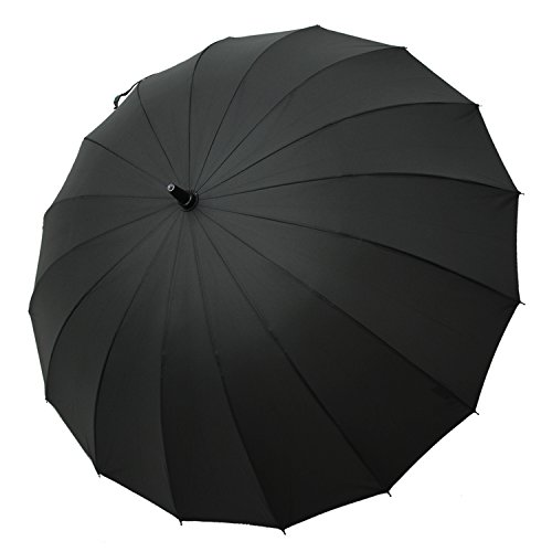 - Saiveina 47 Inch Auto Open Straight Strong Durable Umbrella, 190T Fiber Waterproof Windproof Sport Umbrella 16 Ribs (SV1258 - Black)