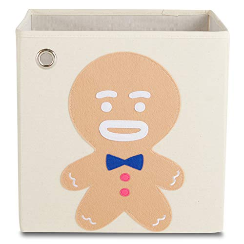 kaikai & ash Storage Bin, Canvas Fabric Toy Box Cube, Kids - Gingerbread Boy
