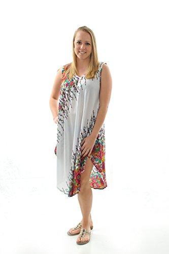 White Batik Floral Dress - 4