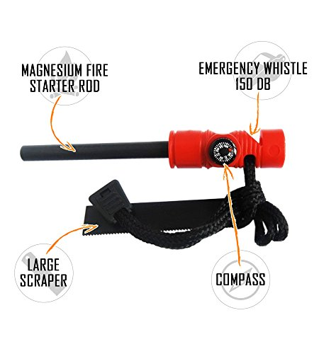 "SOS Gear Pocket Chainsaw and Fire Starter Survival Hand Saw, , Firestarter with Built in Compass & Whistle, Embroidered Pouch for Camping & Backpacking Green Straps, 24"" Chain"