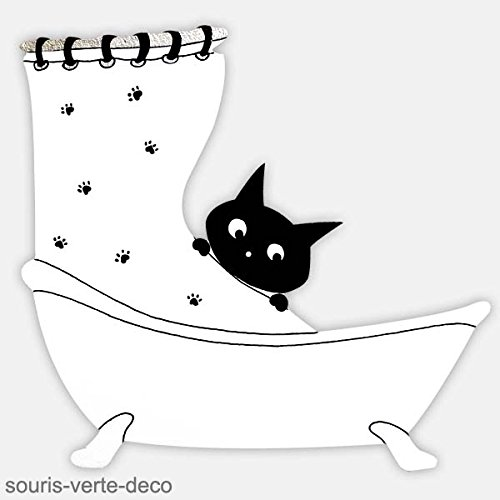 Placa decorativa para puertas de sala de baño, gato negro y blanco, cartel de