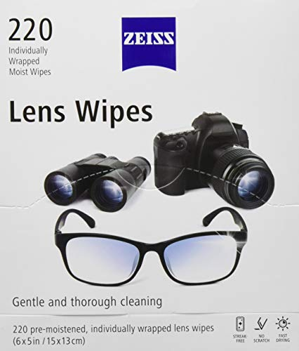 Zeiss Lens Wipes, White, 220 Count