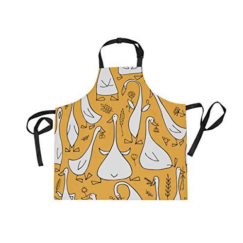 cocina directividad Divertido Delantal para ajustable bolsillos sarga de Amarillo Unisex Cuello con de para babero multi de cocina delantal mujer de hombre o ganso adultos SSr4HX