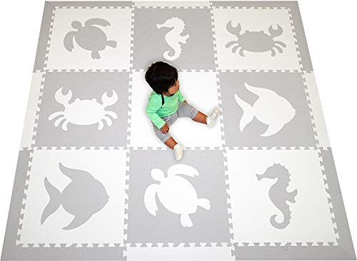 SoftTiles Sea Animals Interlocking Foam Play Mat with Sloped Borders. Soft Flooring for Playrooms and Nurseries- Large 6.5 x 6.5 ft.- (Light Gray, White) SCSEAWH ()