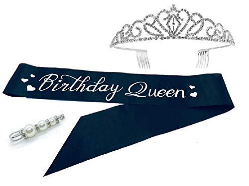 Birthday Queen Sash and Crown with Pearl and Rhinestone Pin Set for Women (Adjustable Teen to Plus Size). Black with Silver Satin Sash, Rhinestone Tiara & Fabulous Pearl and Rhinestone Pin.]()