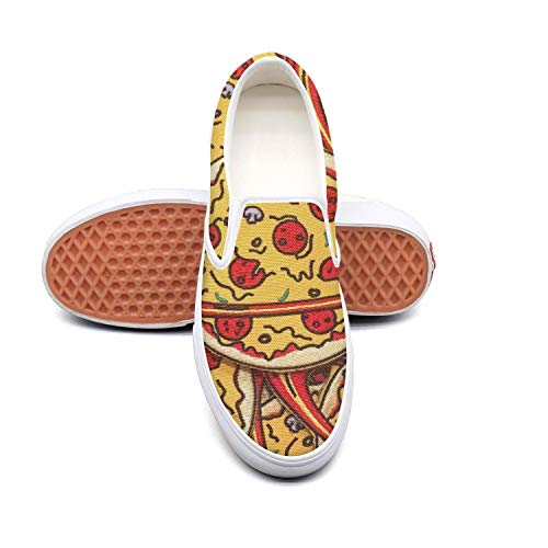 Planet Pizza Red and Yellow Mens Canvas Casual Skateboard Shoes Print