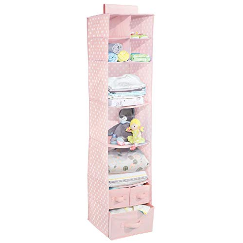 mDesign Soft Fabric Over Closet Rod Hanging Storage Organizer with 7 Shelves and 3 Removable Drawers for Child/Kids Room or Nursery - Polka Dot Pattern - Light Pink with White Dots