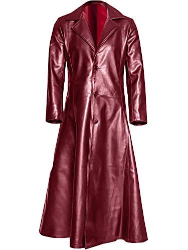 Ashuai Men's Leather Long Trench Coat The Matrix Neo Long Jacket Coat(M,Red)