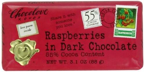 Chocolate Honey Raspberry - Chocolove Chocolate Bar, Raspberries in Dark Chocolate, 3.1 Ounce (Pack of 12)