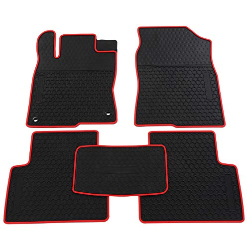 - biosp Car Floor Mats for Honda Civic 10th 2016 2017 2018 2019 Front And Rear Seat Heavy Duty Rubber Liner Black Red Vehicle Carpet Custom Fit- All Weather Guard Odorless