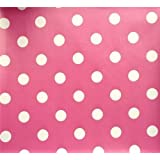 PINK POLKA DOT SPOTS PVC OILCLOTH VINYL FABRIC KITCHEN CAFE BAR TABLE WIPECLEAN PICTURE TABLECLOTH PER METRE 100CM X 135 CM BRAND NEW CUT TO ORDER by QUICKFABRICS