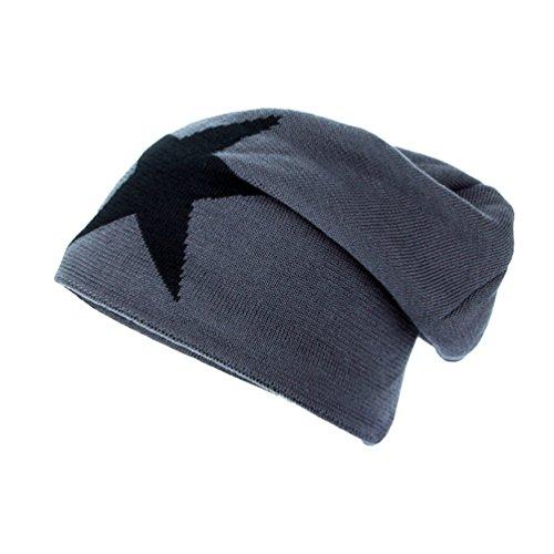 Gorro Cómodo Casual Sombreros YiJee de Gris Hombre Jacquard Diseño Punto Pentagram Invierno de U0q8pq