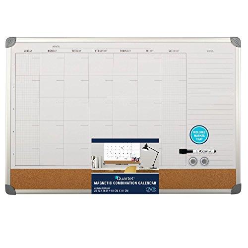 Quartet Combination Magnetic Whiteboard Calendar & Corkboard, 3' x 2', Combo White Board & Cork Board, Euro Style Aluminum Frame (73611) ()