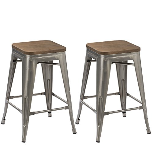 BTEXPERT 30-inch Industrial Stackable Tabouret Vintage Antique Rustic Clear Brush Distressed Metal Bar Stools Wood top seat (Set of Two)