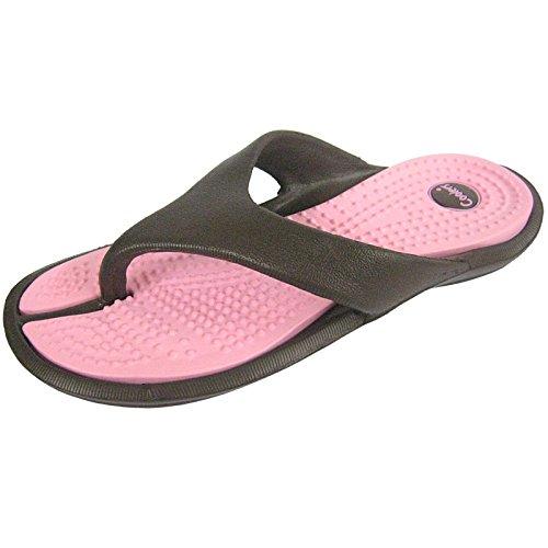 Women's Toe Thong Flip Flops, Pool Shoe Sandal EVA Upper Contrast Colour Sole Brown