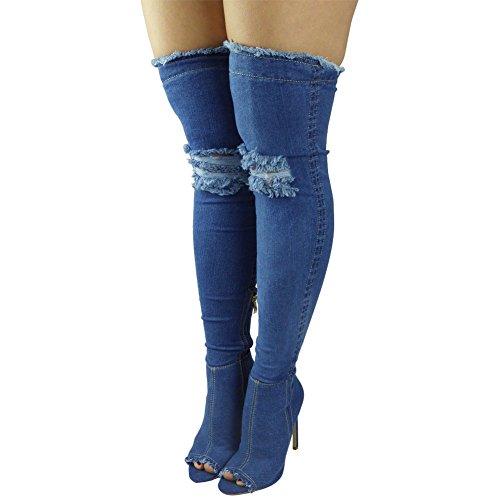 tacco Stivali punta ginocchio Spillo Denim aperta 3 aderenti Medio donna Jeans 8 alti sopra al a numero nWY48qgPwA
