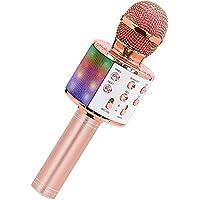 SeeKool Bluetooth Karaoke Micrófono con Las Luces LED, Altavoz inalámbrico portátil, para Cantar Hogar KTV, mejor regalo…